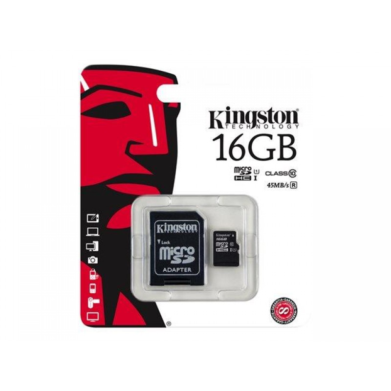 Memoria Micro SD 16 GB c/ Adap a SD C-10 Kingston