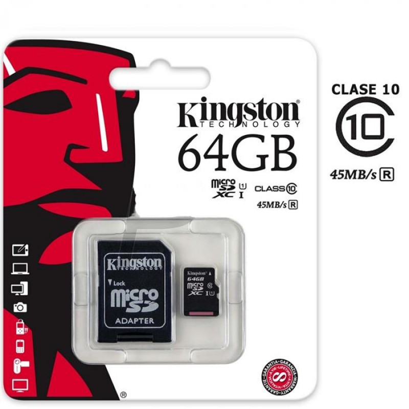 Memoria Micro SD 64 GB c Adap a SD C-10 Kingston